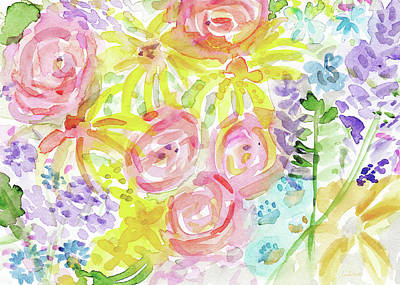 Yellow Daisy Wall Art - Painting - Watercolor Rose Garden- Art By Linda Woods by Linda Woods