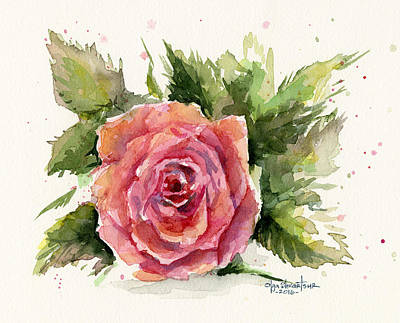 Red Rose Wall Art - Painting - Watercolor Rose by Olga Shvartsur