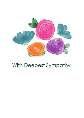 Death Painting - Watercolor Rose Sympathy Card- Art By Linda Woods by Linda Woods