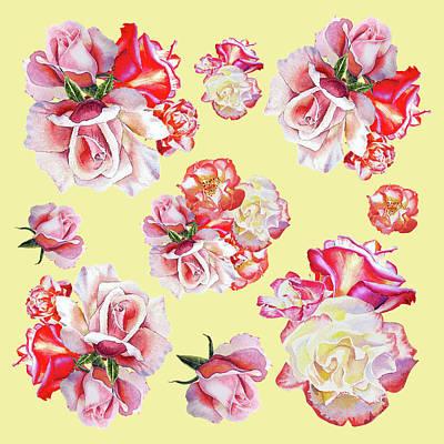 Painting - Watercolor Roses Golden Dance by Irina Sztukowski