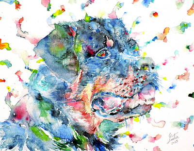 Rottweiler Wall Art - Painting - Watercolor Rottweiler by Fabrizio Cassetta