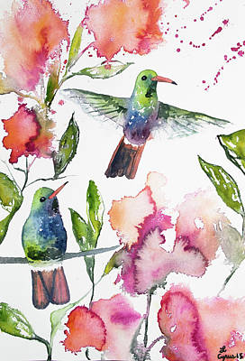 Painting - Watercolor - Rufous-tailed Hummingbirds With Flowers by Cascade Colors