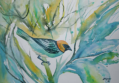 Painting - Watercolor - Saffron-crowned Tanager by Cascade Colors