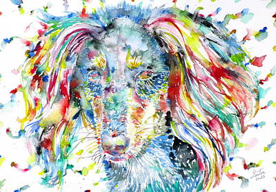 Painting - Watercolor Saluki by Fabrizio Cassetta