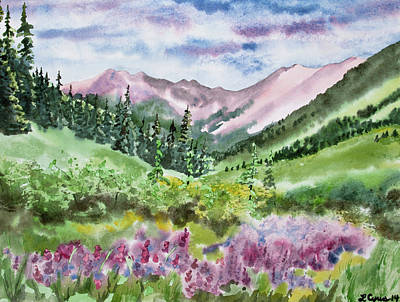 Painting - Watercolor - San Juans Mountain Landscape by Cascade Colors