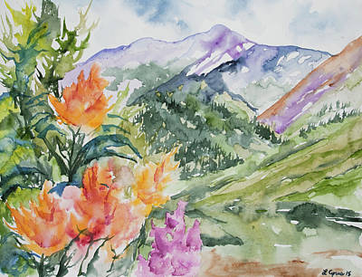 Travel - Watercolor - San Juans Summer Mountains and Wildflowers by Cascade Colors
