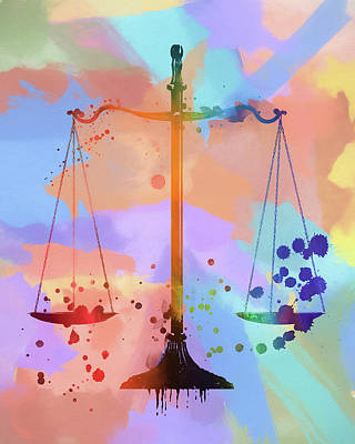 Painting - Watercolor Scales Of Justice by Dan Sproul