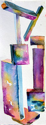 Abstract Forms Drawing - Watercolor Sculpture by Mindy Newman