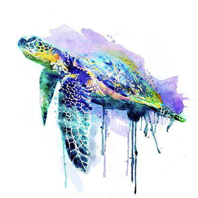 Painted Turtle Wall Art - Painting - Watercolor Sea Turtle by Marian Voicu