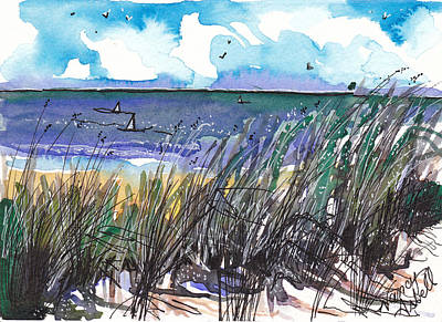 Watercolor Seashore Art Print by Michele Hollister - for Nancy Asbell