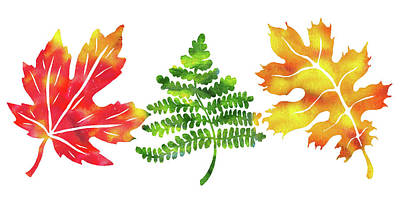 Painting - Watercolor Silhouettes Of Fall Leaves by Irina Sztukowski