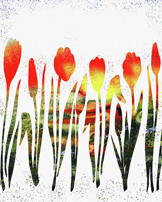 Painting - Watercolor Silhouettes Of Tulips by Irina Sztukowski