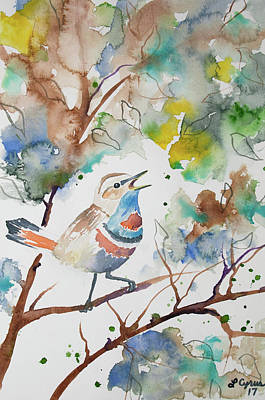 Painting - Watercolor - Singing Bluethroat by Cascade Colors