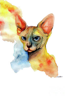 Sphynx Cat Painting - Watercolor Sphynx 2 by Akiko Okabe