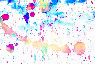 Drawing - Watercolor Splashes Background by Serena King