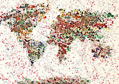 Watercolor Map Painting - Watercolor Splashes World Map 2 by Georgeta  Blanaru