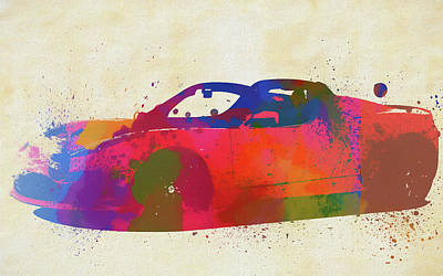 Painting - Watercolor Splatter Tesla Convertible by Dan Sproul