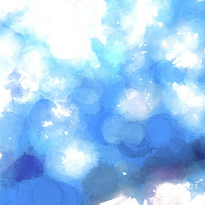 Drippy Photograph - Watercolor Splatters-blue Abstract   by Scott Cameron