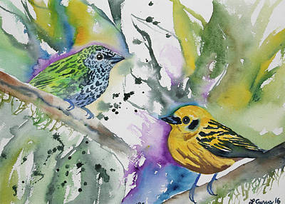 Painting - Watercolor - Spotted Tanager And Golden Tanager by Cascade Colors