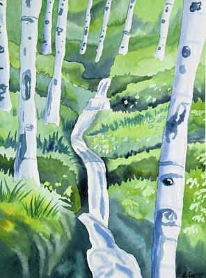 Painting - Watercolor - Spring Aspen Forest And Mountain Stream by Cascade Colors