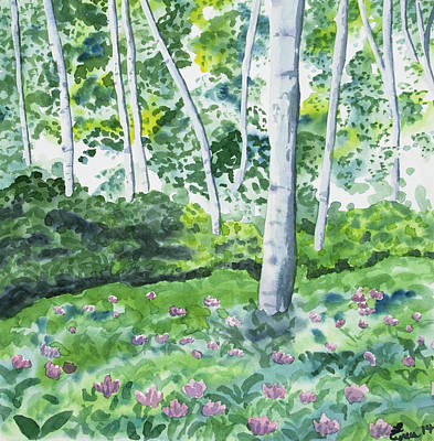 Painting - Watercolor - Spring Forest And Flowers by Cascade Colors