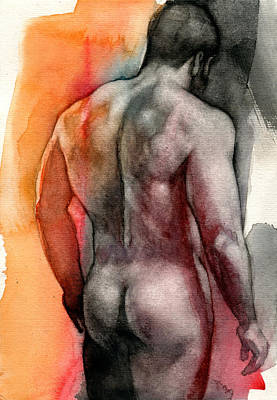 Male Nudes Painting - Watercolor Study 5 by Chris Lopez