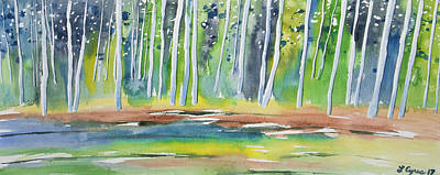Painting - Watercolor - Summer Aspen Forest Impression by Cascade Colors