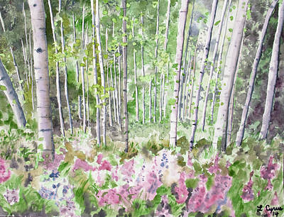 Painting - Watercolor - Summer Aspen Glade by Cascade Colors