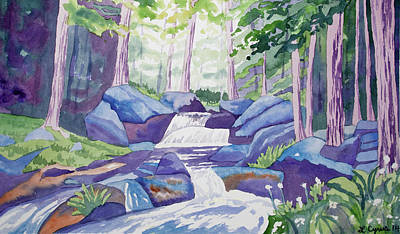 Painting - Watercolor - Summer Mountain Forest And Stream by Cascade Colors