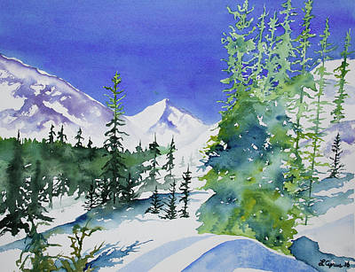 Painting - Watercolor - Sunny Winter Day In The Mountains by Cascade Colors