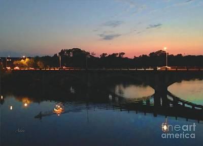 Photograph - Watercolor Sunset Over Lamar Street Bridge Austin Texas by Felipe Adan Lerma