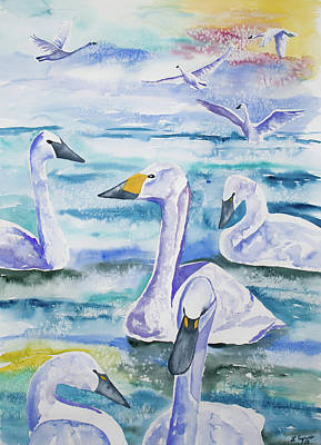 Watercolor - Swan Lake Art Print by Cascade Colors