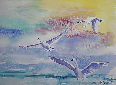 Watercolor - Swan Lake Detail Art Print by Cascade Colors