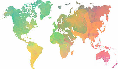 Watercolor Texture World Map Original