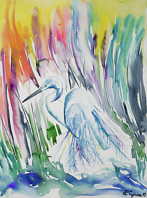 Painting - Watercolor - The Elegant Great Egret by Cascade Colors