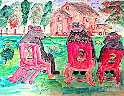 Painting - Watercolor Three Bears Visiting A Farm In Tuscany by Richard W Linford