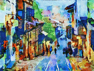 Digital Art - Watercolor Town Life by Yury Malkov