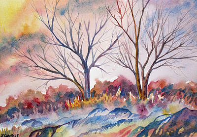 Watercolor - Trees And Woodland Meadow Original by Cascade Colors