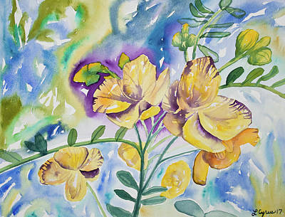 Painting - Watercolor - Tropical Yellow Flowers by Cascade Colors