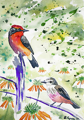 Flycatcher Painting - Watercolor - Vermilion Flycatcher Pair In Quito by Cascade Colors