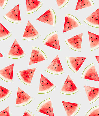 July Fourth Drawing - Watercolor Watermelon Pattern by Uma Gokhale