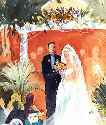Painting - Watercolor Wedding by Gertrude Palmer