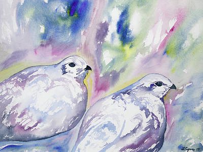 Painting - Watercolor- White-tailed Ptarmigan 1 by Cascade Colors