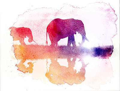 Watercolor Wildlife 2 Art Print by The DigArtisT