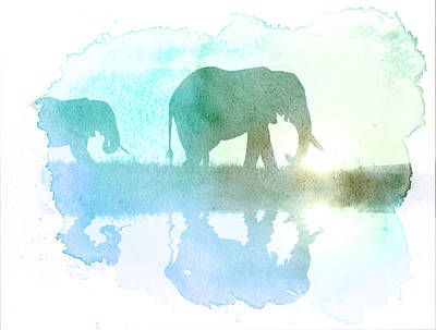 Watercolor Wildlife Art Print by The DigArtisT