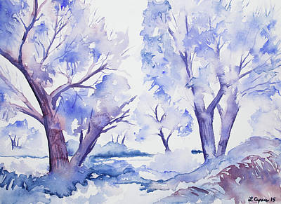 Painting - Watercolor - Winter Trees by Cascade Colors