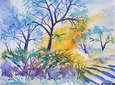 Painting - Watercolor - Winter Woodland Sunrise by Cascade Colors