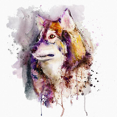 Mixed Media - Watercolor Wolf Portrait by Marian Voicu