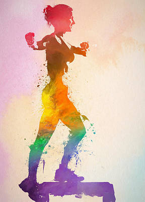 Athletes Royalty-Free and Rights-Managed Images - Watercolor Woman Exercising by Dan Sproul