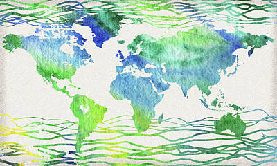 Painting - Watercolor World Map Abstract Lines by Irina Sztukowski